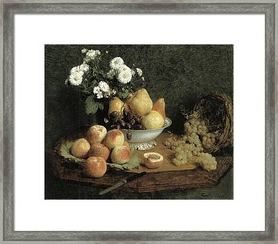 Flowers And Fruit On A Table Framed Print by Henri Fantin-Latour