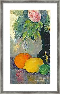 Flowers And Fruits Framed Print by Paul Cezanne