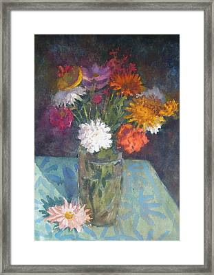Flowers And Glass Framed Print by Terry Perham