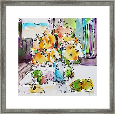 Flowers And Green Apples Framed Print
