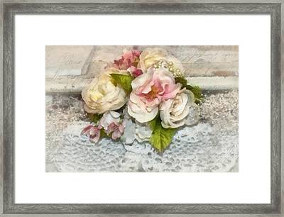 Flowers And Lace Framed Print by Kathy Jennings