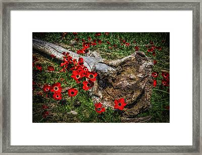 Flowers And Monster Framed Print