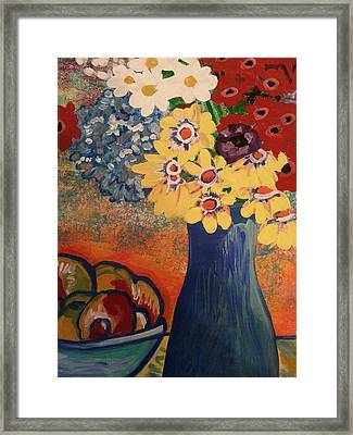 Flowers And Oranges Framed Print