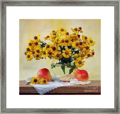 Flowers And Pears Framed Print by Irina No