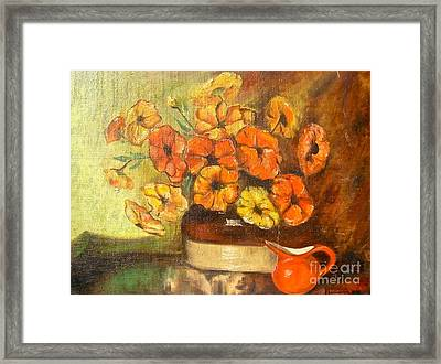 Flowers And Red Pitcher Framed Print by Virginia Ann Hemingson