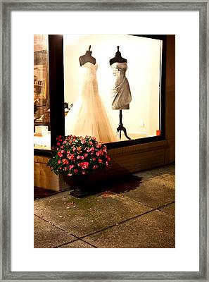 Flowers And Storefront Framed Print by Chris Fender