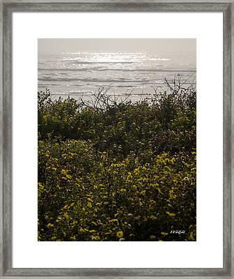 Flowers And The Sea Framed Print