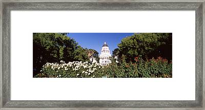 Flowers And Trees In Garden Framed Print by Panoramic Images