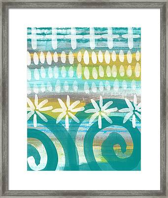 Flowers And Waves- Abstract Pattern Painting Framed Print by Linda Woods