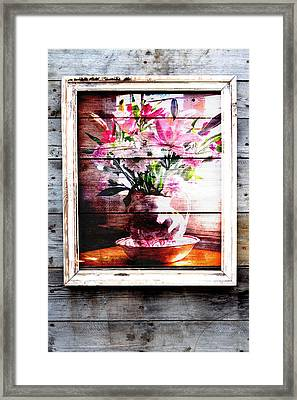Flowers And Wood Framed Print