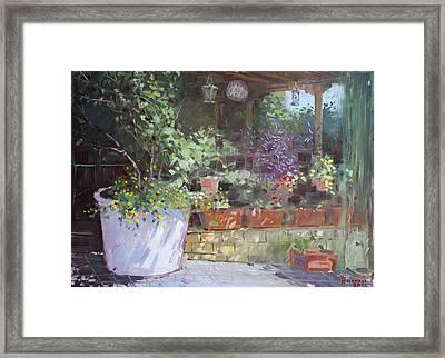Flowers At Lida's Veranda Framed Print by Ylli Haruni