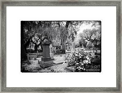 Flowers By The Grave Framed Print by John Rizzuto