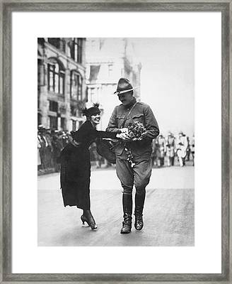 Flowers For Wwi Soldier Framed Print
