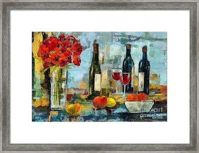 Flowers Fruit And Wine Framed Print by Elizabeth Coats