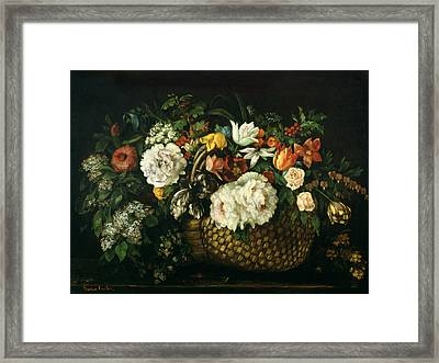Flowers In A Basket, 1863 Framed Print by Gustave Courbet