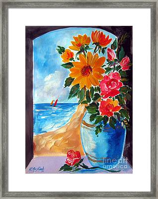 Flowers In A Blue Vase  And The Beach Framed Print by Roberto Gagliardi