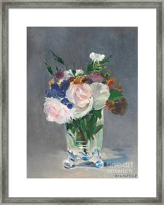 Flowers In A Crystal Vase Framed Print by Edouard Manet