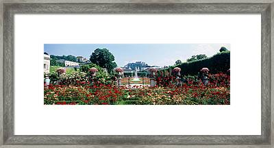 Flowers In A Formal Garden, Mirabell Framed Print by Panoramic Images