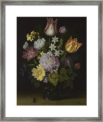 Flowers In A Glass Vase Framed Print