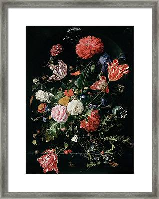 Flowers In A Glass Vase, Circa 1660 Framed Print