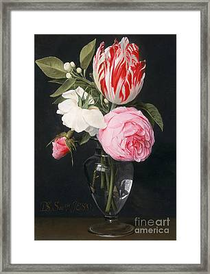 Flowers In A Glass Vase Framed Print by Daniel Seghers