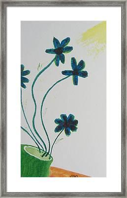 Flowers In A Jade Vase Framed Print by Debbie Nester