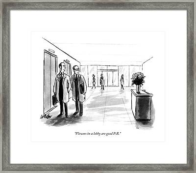 Flowers In A Lobby Are Good P.r Framed Print