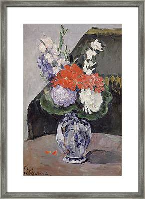Flowers In A Small Delft Vase Framed Print by Paul Cezanne