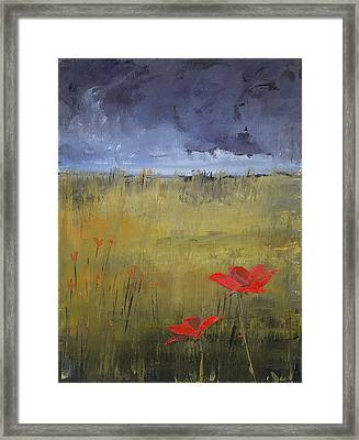 Flowers In A Storm Framed Print