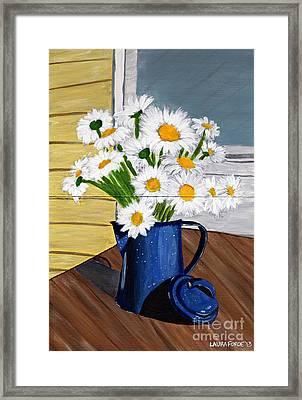Framed Print featuring the painting Flowers In A Teapot by Laura Forde