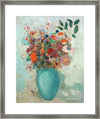 Flowers In A Turquoise Vase Framed Print by Odilon Redon