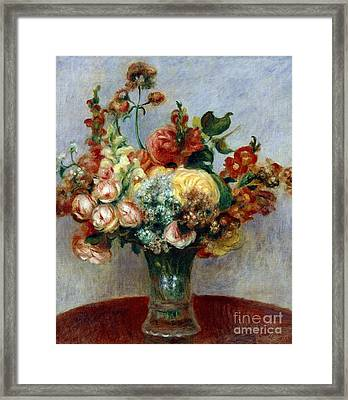 Flowers In A Vase Framed Print by Pierre-Auguste Renoir
