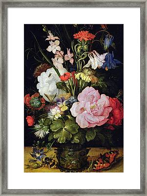 Flowers In A Vase Framed Print by Roelandt Jacobsz Savery