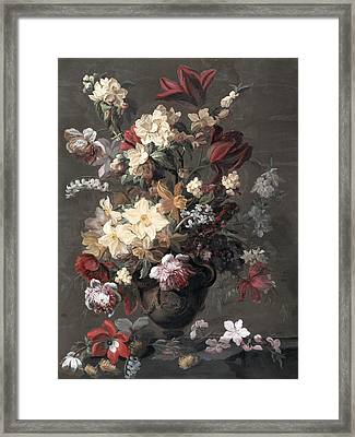 Flowers In A Vase Standing On A Ledge Framed Print by Mary Moser