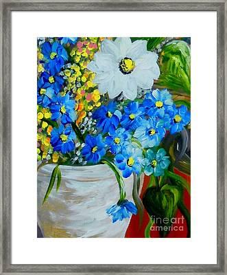 Flowers In A White Vase Framed Print by Eloise Schneider