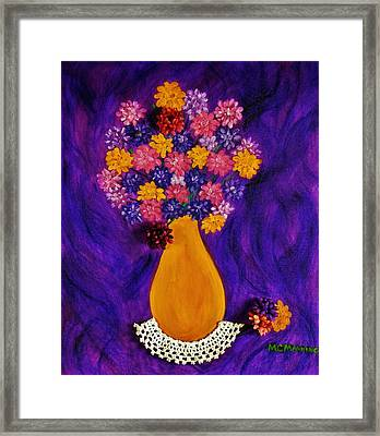 Flowers In A Yellow Vase Framed Print by Celeste Manning