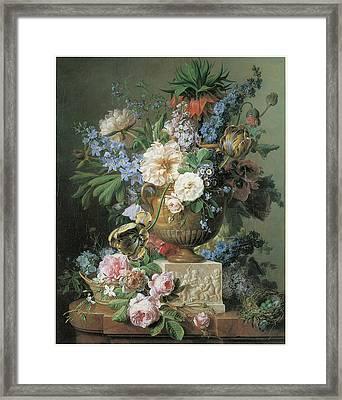 Flowers In An Alabaster Vase Framed Print by Gerard Van Spaendonck