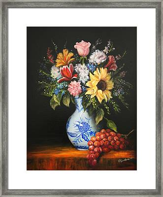 Framed Print featuring the painting Flowers In Blue And White Vase by Sandra Nardone