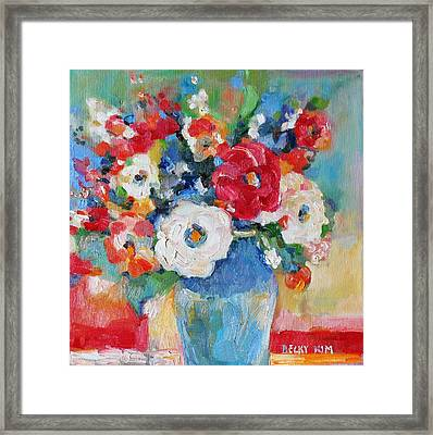 Flowers In Blue Vase 1 Framed Print
