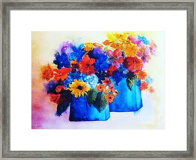Flowers In Blue Vases Framed Print