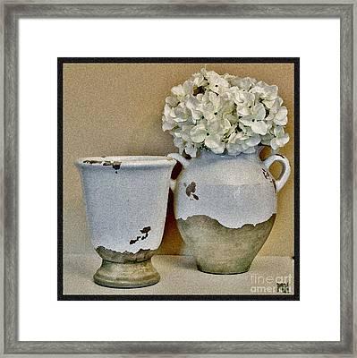 Flowers In European Pottery Framed Print by Marsha Heiken