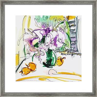 Flowers In Green Vase Framed Print by Becky Kim