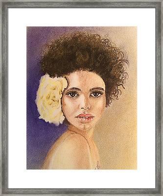 Flowers In Her Hair II. Framed Print by Paula Steffensen