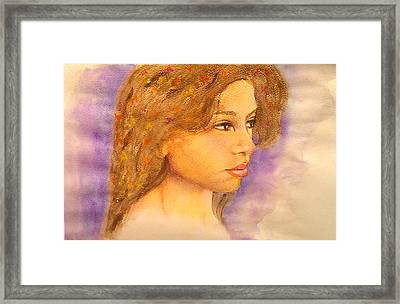 Flowers In Her Hair IIi. Framed Print by Paula Steffensen