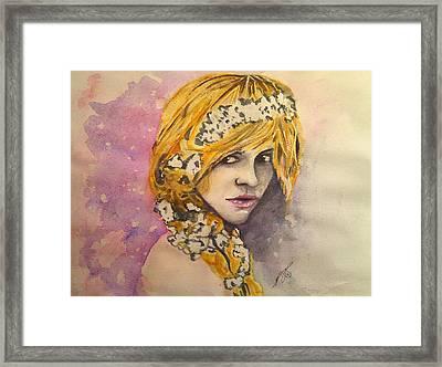 Flowers In Her Hair Series I Framed Print by Paula Steffensen