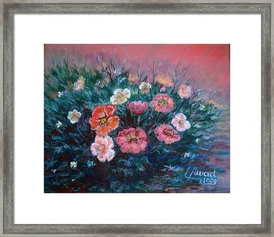 Flowers In My Garden. Framed Print by Laila Awad Jamaleldin
