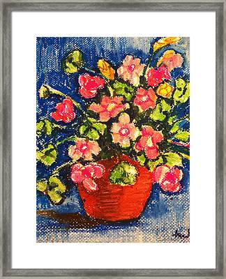 Flowers In Orange Pot Framed Print