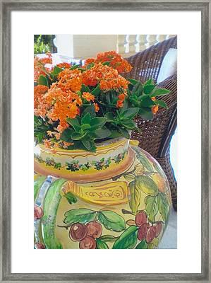 Flowers In Ornate Vase Framed Print
