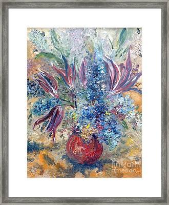 Flowers In Red Vase Framed Print by Irene Pomirchy