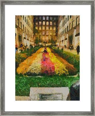 Flowers In Rockefeller Plaza Framed Print by Dan Sproul